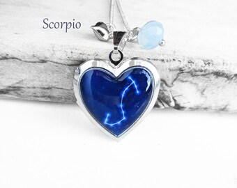 "Get 15% OFF - Double Sided - Handmade Resin ""Scorpio"" Constellation Sign Silver Heart-shape Locket Necklace - 4th of July SALE 2017"