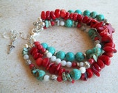 SALE - Southwestern, Turquoise, Red Coral, Mother-of-Pearl, Multi-Strand Bracelet with Sterling Silver Cross & Crystal Heart Charm