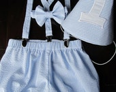 Smash Cake Outfit, Birthday Boy Outfit,  Bowtie, Suspenders, Diaper Cover and Party Hat