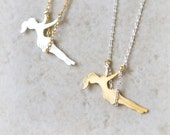 Girl on a Swing Necklace / choose your color / gold and silver