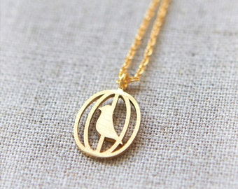 BirdCage Necklace / choose your color / gold and silver