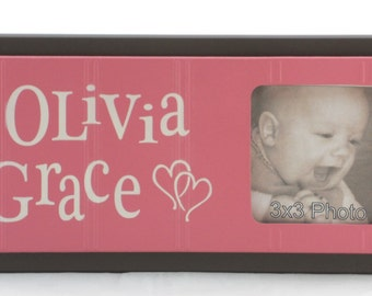 Personalized Baby Nursery Picture Frames, Chocolate Brown and Pink Baby Girl Decor Photo Frame Custom Order