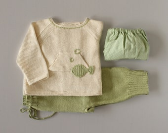 Knitted sweater,  pants. Green and pearl. Crochet fish. 100% cotton. READY TO SHIP size newborn.