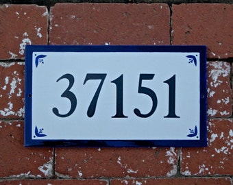 House Number Tile Royal Blue Home Address Tile/Address Plaque/Sign/house sign