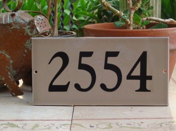 TILE HOUSE NUMBERS Taupe /Ceramic Tile/ Address by cmbstudio