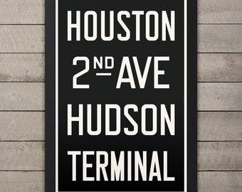 MANHATTAN (HOUSTON) New York City Subway Sign. Bus Scroll. 12 x 18 Rollsign Print