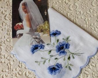 Vintage Bridal Handkerchief - Eco Friendly Cotton, Vintage Wedding, Something Blue, Something Old, Collectible, Gift Idea, Keepsake: BBD-809
