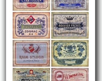 French Labels Alcohol for Bottles Liquor Grog Liqueur Brandy Rum Absinthe Antique for Shabby Chic Old Decoupage Ephemera Backgrounds 489
