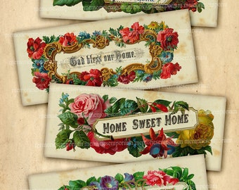 Home Sweet Home Bookmarks Theres No Place Like God Bless Our Vintage Victorian Prints Antique Decoupage Digital Collage Sheet 541