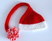 Scarlet Red and White Newborn Elf Hat , Newborn Santa Hat, Photography Prop, Crocheted Baby Hat, Baby hat, Newborn hat, Toddler Hat