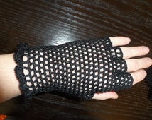 Crochet  black  lace fingerless hippie grunge boho gothic steampunk gloves