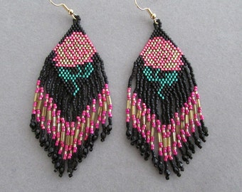 Beaded Peony Earrings