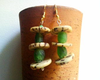 GBAKUN recycled glass green raffia palm nut earrings by Fianaturals
