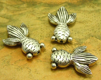 10 pcs Antique Silver Goldfish Beads Silver Beads 24x17mm Double Sided Drilled Top Down CH1836