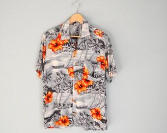 Vintage 80s 90s Kennington Hawaiian Gray Orange Floral Luau Shirt // mens medium