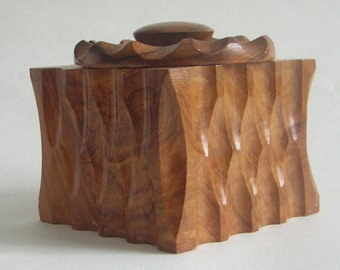 Vintage Carved Wooden Pot / Box With Lid
