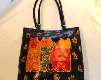 Three Cats Vintage Leather Tote Bag 12 X 12 X 3