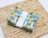 Large ORGANIC Cloth Napkins - Set of 4 - (N2209) - Gray Aqua Pebbles Modern Reusable Fabric Napkins