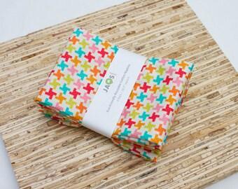 Large Cloth Napkins - Set of 4 - (N2145) - Colorful Houndstooth Modern Reusable Fabric Napkins