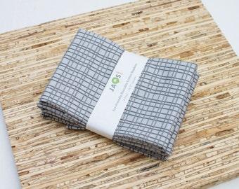 Large Cloth Napkins - Set of 4 - (N2269) - Gray Hatched Modern Reusable Fabric Napkins