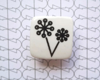 Ceramic Brooch with Dandelion - Porcelain Jewelry - Ceramic Jewellery - Small White Brooch