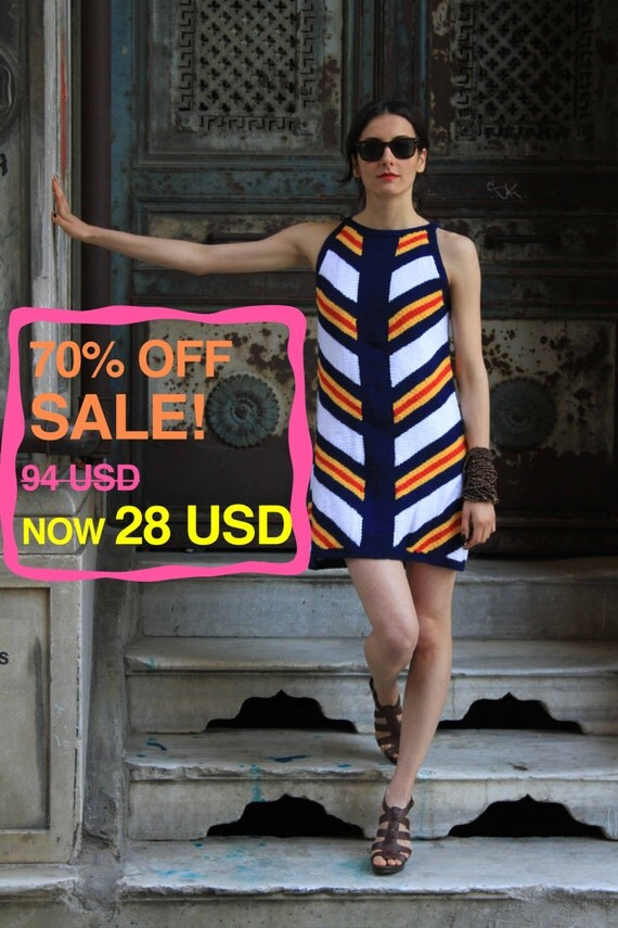 70% OFF! Colorful Striped Dress, Handmade: Stripy, Summer Collection