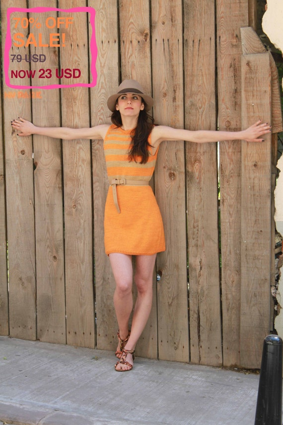 70% OFF! Bright Striped Dress, Handmade: Pumpkin, Summer Collection