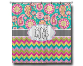 "Custom Personalized Monogram Shower Curtain - You Choose Size , 70"" x 70"", 70"" x 90"", or ANY size Chevron, Paisley or ANY Color(s)"