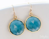 London Blue Topaz - December Birthstone Jewelry - Round Gemstone Earrings - Gold Earrings - Drop Earrings