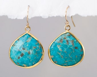 Turquoise Drop Earrings - Bezel Gemstone Earrings - December Birthstone Jewelry -Gold Earrings