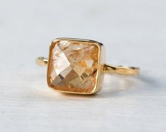 Citrine Ring - November Birthstone Ring - Gemstone Ring - Stacking Ring - Gold Ring - Cushion Cut Ring