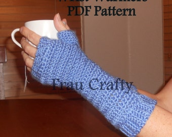 Crochet Wrist Warmers With Ribbed Cuffs - PDF Pattern - Wristers, Fingerless Gloves, Gauntlets - Instant Download Digital File