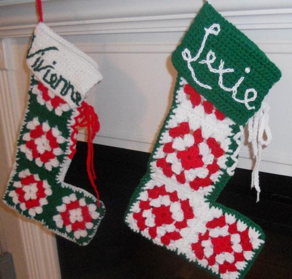 Items similar to Christmas Stocking Pattern - Retro Granny ...