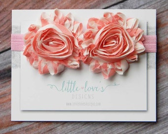 Baby Flower Headband- Baby Headband- Double Pink and Natural White Flowers on Soft Light Pink Elastic Headband
