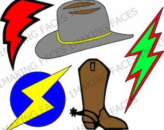 Cowboy Boot, Cowboy Hat, 3 Lightening Bolts, SVG Cutting File Kit