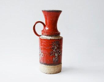 Vintage German Red Vase - Übelacker Keramik (U Keramik)  1970s