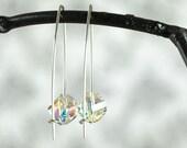 Crystal Earrings, Long Silver Ear Wires, Modern Earrings