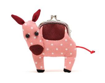 Little pastel pink donkey clutch purse