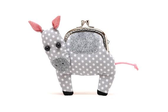Little silvery grey mule clutch purse
