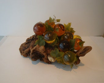 Huge bunch of Lucite Grapes on Wood Burl Chunk