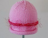 Fizzy Lizzy Baby Hat In Pink With Pink & White Fizz Trim
