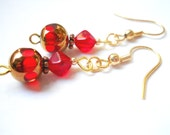 Copper and Ruby Red Czech Glass Beaded Earrings, Scarlet Red Petite Dangle Earrings, Christmas Red and Antiqued Copper Jewelry