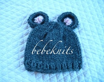 Hand Knit Little Mouse Baby Hat