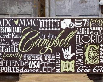 Subway Wall Art Sign Horizontal, Personalized Subway Sign, Personalized Family Name Heirloom Sign, Subway Art,  Wedding Sign, Vintage Sign
