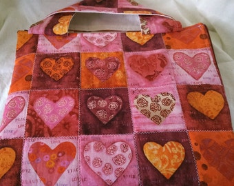 multiple pinks hearts tote designed for ipad nook hd+ kindle hdx