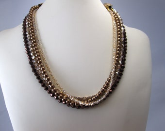 Diamond Shape Dark Brown Interchangeable Multi Strand Necklace Picasso Finish Czech Glass