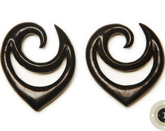 Ebony Wood Carved Gauged Earrings - Limited Edition