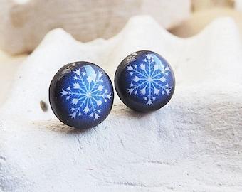 Snowflake Stud Earrings Snowflake Studs Navy Blue Studs Winter Jewelry
