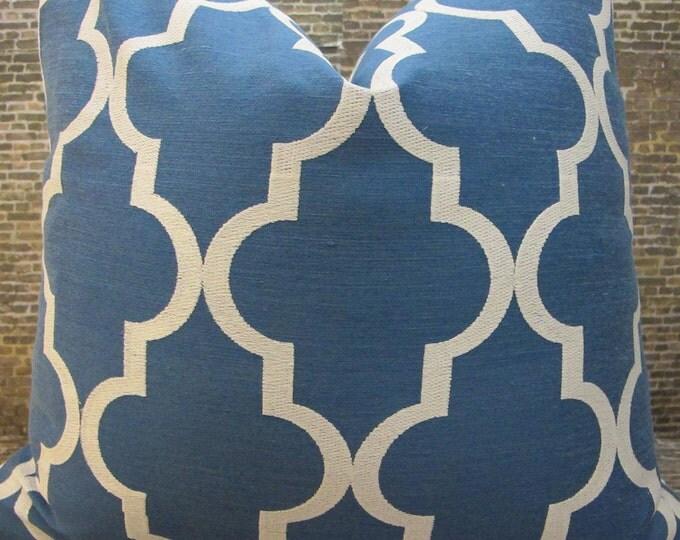 3BM Designer Pillow - 16 x 16  - Quatrefoil Embroidered Blue