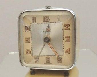 Vintage French Alarm Clock Mid Century Retro Yellow Bayard Miniature Mini Clock French Decor
